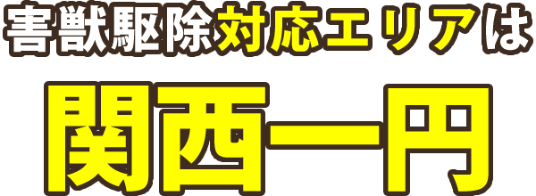 害獣駆除対応エリアは関西一円|大阪・兵庫・京都・奈良滋賀・和歌山・三重|現地調査・お見積り無料!
